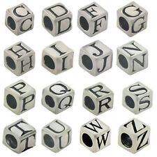 Sterling Silver Alphabet Letter Bead 5mm Cube Square 3mm Hole