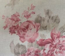 "Vintage Linen Faded Rose Party  Pink/Red 140cm/54"" Curtain/Craft Fabric"