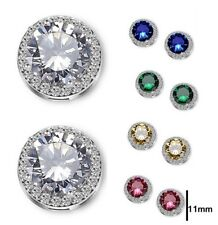 White Gold Plated Silver Round Micropave Crystal CZ Stud Earrings Gift Box P25