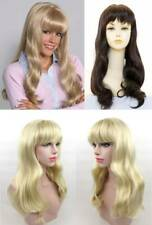 WOMENS LONG STRAIGHT HAIR BOTTOM CURLS W/ FULL BANGS SKIN TOP WIG PAMELA FLACA