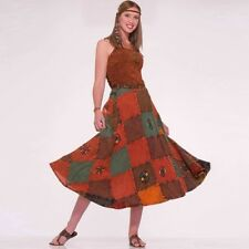 Womens Hippie Clothing Outfit 60s Patchwork Skirt Costume