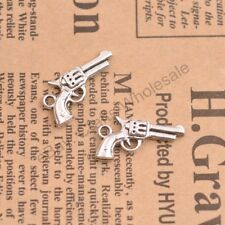Wholesale 10Pcs Tibetan Silver Pistol Charms Pendants Jewelry 27x15MM D154