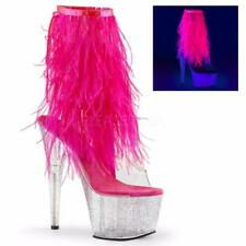 Pleaser Adore-1017MFF clear glitter neon pink feathers ankle peep toe boots 5-11