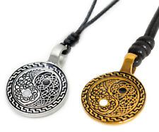 Ying Yang Celtic Design Silver Pewter Gold Brass Charm Necklace Pendant Jewelry