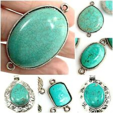 Green Magnesite Turquoise Pewter Connector Pendants 28mm 36mm 42mm 55mm 60mm