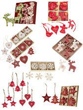 Heaven Sends Set of Wooden Hanging Christmas Tree Decorations Nordic Red White
