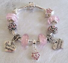 Girls PRETTY in PINK Sparkling Personalised Charm Bead Bracelet