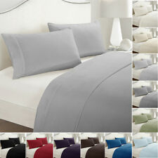 Flat Fitted Sheet Bed Cover Coverlet Set Pillowcases Comfort Solid Color