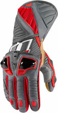 Icon Mens Stealth Gray Leather Hypersport Pro Motorcycle Long Gloves