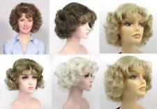 WOMENS SHORT CHIN LENGTH GYPSY PAGE CURLS CURLY WIG W/ BANGS SALLY GOLDEN GIRLS