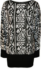 New Womens Plus Size Aztec Print Long Batwing Sleeve Ladies Stretch Top 14 - 28