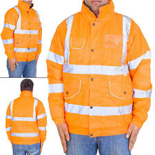 New Mens Hi Viz Visibility Security Work Quilted Padded Waterproof Bomber Jacket