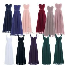 Womens Long Chiffon Dress Bridesmaid Wedding Cocktail Evening Party Ball Gown