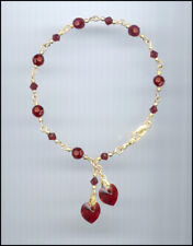 Beautiful Gold Filled Charm Bracelet w/ Swarovski SIAM RUBY RED Crystal Hearts