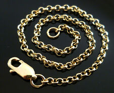 9ct 9k Solid Gold Rolo Belcher Chain Necklace 375 Yellow Rose White 3.4mm CUSTOM