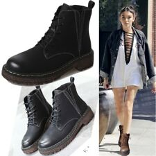 Ladies Womens Lace Up Combat Army Military Round Toe Flat Heel Ankle Boots punk