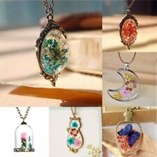 Natural Dried Flower Glass Pendants Silver/Bronze Necklaces Costume Jewelry Gift