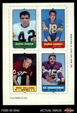 1969 Topps 4-in-1 Football Stamps Dick Hoak / Roman Gabriel / Dave Williams / NM