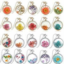 Beautiful Dried Flowers Locket Pendant Necklace Round Fashion Jewelry Gift New