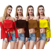 Womens Ladies Casual Off Shoulder Ribbon Summer Tops Crop Tank T-Shirt Blouse