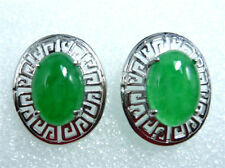 Charm Lady Earrings Jade Stud Earrings Silver Plated Jewelry Women Earrings Gift