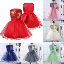 Girl Baby Sequinned Dress Flower Party Birthday Wedding Bridesmaid Flowergirl