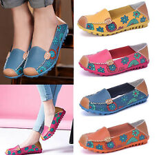 Women Soft Leather Flats Flower Floral Pumps Loafers Ballet Casual Shoes