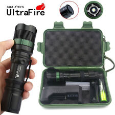 Tactical ZOOM 20000LM T6 LED 18650 Outdoor Flashlight Torch+18650+Charger+Case