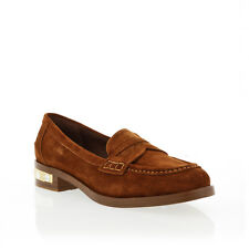 Miu Miu Brown Suede Penny Loafer With Jeweled Heel Treatment