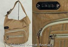 L.A.M.B. Gwen Stefani Beige Leather Hobo Tote Satchel Handbag Purse Shoulder Bag