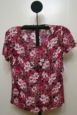 SagHarbor Deep Purple Floral Cap Sleeve Top with Necklace - Size Small
