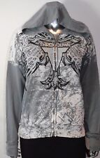 NWT Throwdown By Affliction Women's FIREWORK Hoodie MMA Fighter Gray S-L