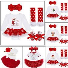 Baby Christmas Party Clothes Outfit Girl First Xmas Tree Stocking Tutu Dress Set