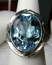 16ct Blue Topaz Solid Sterling Silver Victorian Filigree Ring {Made To Order} #2