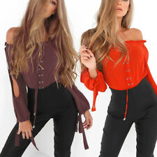 Women's Sexy Off Shoulder Long Sleeve Shirt Party Clubwear Top Blouses Sanwood