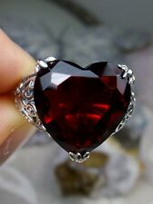 10ct *Ruby/Red* Sterling Silver Gothic Heart Claw Filigree Ring {Made To Order}