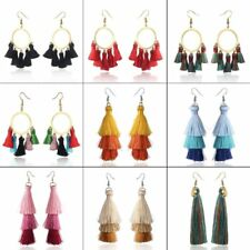 Fashion Boho Long Tassels Hoop Ear Stud Drop Dangle Earrings Women Jewelry New