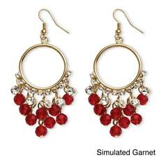 Birthstone Chandelier Earrings with Crystal Accents in Yellow Gold Tone Color