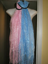 New Womens Pink or Blue Shawl Wrap Scarf Day or Evening Pretty Lace Fast Ship!