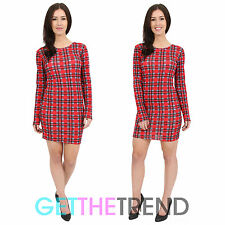 Womens Red Tartan Mini Tunic Dress Ladies Bodycon Stretchy Check Plaid Dress Top
