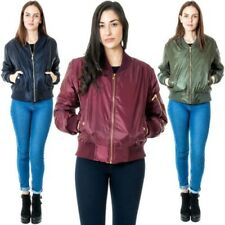 New Womens MA1 Plain Vintage Zip Up Classic Bomber Jacket Biker Coat Size S M XL
