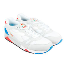 Diadora S8000 Nylon Italia Mens White Suede & Synthetic Athletic Running Shoes