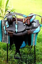 Western Cordura Trail Barrel Pleasure Horse SADDLE Bridle Tack Blue 4986