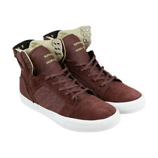 Supra Skytop Mens Burgundy Suede & Canvas High Top Lace Up Sneakers Shoes