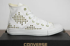 NEW All Star Converse Chucks Hi Leather White Studded Studs Trainers 542419c