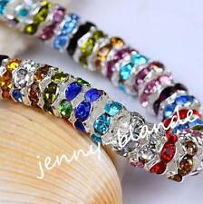 50pcs Sliver/Gold Plated Crystal Rhinestone Rondelle Spacer Beads DIY 6/8/10mm