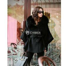 Women Luxury Double Breasted Batwing Cape Poncho Coat Jacket Fur Collar Hooded D