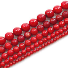 "New!Blood-Red Sea Coral Smooth Spacer Round Beads 15"" 2 3 4 5 6 7 8 10 11 12mm"