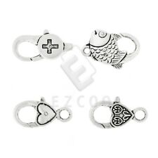 10pcs Lobster Claw Clasp Antique Silver Jewelry Finding Other/Fish/Heart DIY HC