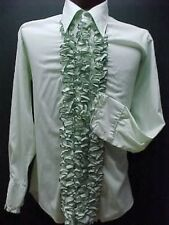 VINTAGE RUFFLED TUXEDO TUX SHIRT RETRO GREEN WITH BLACK TRIM MADE IN USA